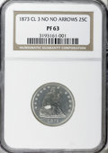 Proof Seated Quarters, 1873 25C No Arrows Closed 3 PR63 NGC. NGC Census: (34/88). PCGSPopulation (46/56). Mintage: 600. Numismedia Wsl. Price for...