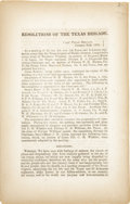 Books:Pamphlets & Tracts, [Confederate Imprint] Resolutions of the Texas Brigade. B.S. Fitzgerald, ...