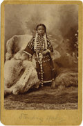 "Western Expansion:Indian Artifacts, Cabinet Card Photograph Sioux Indian ""Standing Holy."" ca. 1890s...."