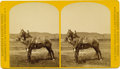 "Military & Patriotic:Indian Wars, Large Stereoview by F. Jay Haynes of ""War Horse Comanche"" with Caretaker Gustave Korn, ca. 1880s. ..."