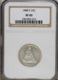 Seated Quarters: , 1888-S 25C XF45 NGC. NGC Census: (4/192). PCGS Population (1/82).Mintage: 1,216,000. Numismedia Wsl. Price for NGC/PCGS co...