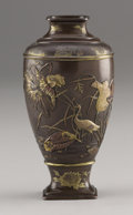 Asian:Japanese, PROPERTY FROM A DALLAS PRIVATE COLLECTION. A JAPANESE PARCEL GILT BRONZE VASE. 19th Century. 7 inches (17.8 cm) high. ...