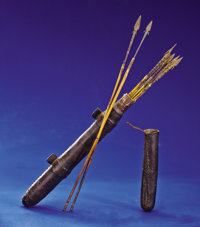 RARE QUIVER WITH NINE METAL-TIPPED ARROWS