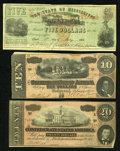Confederate Notes:1864 Issues, T67 $20 1864 XF. T68 $10 1864 VF, with spot.. ... (Total: 3 notes)