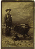 Western Expansion:Goldrush, Cabinet Card Photograph of Armed Miner with Wheel Barrow, Ca.1880s....