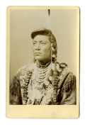 "Military & Patriotic:Indian Wars, Cabinet Card Photograph of Crow Indian ""Chief Little Head,"" ca. 1880s...."