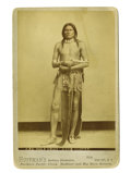 "Military & Patriotic:Indian Wars, Cabinet Card of Cheyenne Warrior ""Wolf Voice"" with Pistol ca 1880s...."
