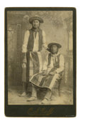 Photography:Cabinet Photos, Cabinet Card Photograph by O. S. Goff, Two Nez Perce/UmatillaIndians, ca. 1890s....