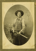 Western Expansion:Cowboy, Photograph of Man Wearing Wild West Performer's Outfit, ca.1890s....