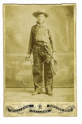 Western Expansion:Cowboy, Cabinet Card Photograph of an Armed Wild West Cowboy, Arizona, ca.1890s....