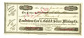 Western Expansion:Goldrush, Tombstone Consolidated Gold & Silver Mining Company StockCertificate, 1881....