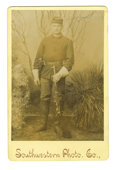 Military & Patriotic:Indian Wars, Cabinet Card Photograph of a Trooper, 1st Cav. Pistol & Carbine, 1890s....