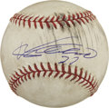 Autographs:Baseballs, Vladimir Guererro Game-Used and Signed Baseball. Vladdy offers agreat sweet spot signature on the game-used OML (Selig) ba...