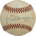 Autographs:Baseballs, Joe DiMaggio Single Signed Baseball. OAL (Brown) baseball is lightly toned and offers 9+/10 sweet spot blue ink signature f...