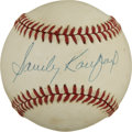 Autographs:Baseballs, Sandy Koufax Single Signed Baseball. Three time Cy Young winnerSandy Koufax, added a splendid signature to the sweet spot ...