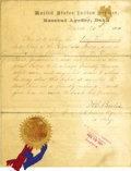 "Military & Patriotic:Indian Wars, Document for ""Blue Tomahawk"" Chief of the Ogallala Sioux, under Treaty with the United States, 1879...."
