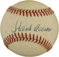 Autographs:Baseballs, Hank Aaron Single Signed Baseball. Despite the uniform toning thatis found on the provided OAL (Brown) orb, the Hank Aaron...