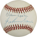 Autographs:Baseballs, Warren Spahn and Johnny Sain Multi-Signed Baseball. Formerteammates with the Boston Braves, pitching greats Warren Spahn a...