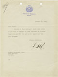 "Autographs:U.S. Presidents, Franklin D. Roosevelt: Typed Letter Signed ""F.D.R."" as NewYork Governor...."
