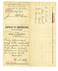 "Western Expansion:Cowboy, Chris Madsen Autograph Document Signed ""C. Madsen,"" IndianTerritory, 1891. ..."