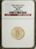 Modern Bullion Coins, 2006 G$10 Quarter-Ounce Gold Eagle First Strike MS69 NGC. NGCCensus: (0/0). PCGS Population (828/93). (#89986)...