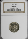 1921 5C MS64 NCS. NGC Census: (194/186). PCGS Population (295/397). Mintage: 10,663,000. Numismedia Wsl. Price for NGC/P...