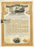 Transportation:Railroad, Galveston, La Porte and Houston Railway Company $1,000 Bond1895....