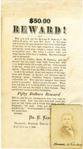 Miscellaneous:Ephemera, $50.00 Reward Poster Hayward, Alameda County California 1880 - ...