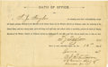 Miscellaneous:Ephemera, Document Signed, U. S. Marshal's Oath of Office, Guthrie, IndianTerritory, 1889....