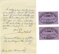 Baseball Collectibles:Tickets, 1869 Buckeye Base Ball Club of Cincinnati Passes Lot of 2. Thismonumentally historic pair of passes is about all that rema...