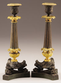 A PAIR OF FRENCH CHARLES X PARTIAL GILT BRONZE CANDELABRA Second Quarter 19th Century 11-1/2 inches (29.2 cm) h