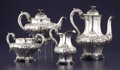 Silver Holloware, British:Holloware, A VICTORIAN SILVER FOUR-PIECE TEA SET. William Hunter, London,England, 1851-1852. Marks: (lion passant), (leopard's head), ...(Total: 4 Items)