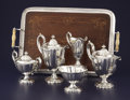 Silver Holloware, American:Tea Sets, AN AMERICAN FIVE-PIECE SILVER TEA SET WITH TRAY. J.E. Caldwell & Co., Philadelphia, Pennsylvania, circa 1915. Marks: J.E. ... (Total: 6 Items)