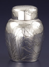 AN AMERICAN SILVER TEA CADDY Gorham Manufacturing Co., Providence, Rhode Island, 1886 Marks: (lion-anchor-G), <...