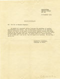 Military & Patriotic:WWII, Franklin D. Roosevelt: Typed Radiogram Signed in Print as Commander in Chief....