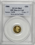 Proof Gold Dollars: , 1866 G$1 PR63 PCGS. Ex:HW Bass Jr Collection. PCGS Population (1/12). NGC Census: (0/1). Mintage: 30. Numismedia Wsl. Price...