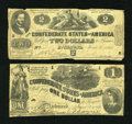 Confederate Notes:Group Lots, Confederate $1 and $2.. ... (Total: 2 notes)