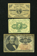 Fractional Currency:Group Lots, Three Fractionals.. ... (Total: 3 notes)