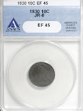 Bust Dimes: , 1830 10C Medium 10C XF45 ANACS. JR-8. NGC Census: (4/139). PCGSPopulation (8/143). Mintage: 510,000. Numismedia Wsl. Pric...