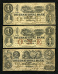 Canadian Currency: , Toronto, CW- The International Bank. $1 September 15, 1858 Ch. #380-10-08-06. $1 September 15, 1858 Ch. # 380-10-10-08. $2 ...(Total: 3 notes)