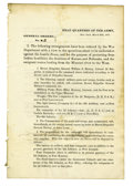 """Military & Patriotic:Indian Wars, Harney's """"Sioux Expedition"""" Special Orders No. 2, ca. 1855...."""