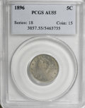 Liberty Nickels: , 1896 5C AU55 PCGS. PCGS Population (6/319). NGC Census: (2/217).Mintage: 8,842,920. Numismedia Wsl. Price for NGC/PCGS coi...