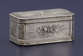 Silver Smalls:Snuff Boxes, A CONTINENTAL SILVER SNUFF BOX. Unknown maker, circa 1800. Marks:(lion passant), (leopard's head crowned), (dolphin). 1-3/8...