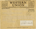 Autographs:Statesmen, Franklin D. Roosevelt: Herbert Hoover as President TelegramRegarding FDR Assassination Attempt and Anton Cermak ClippedSigna... (Total: 2 Items)