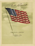Autographs:U.S. Presidents, Franklin D. Roosevelt: Flag Lithograph Signed as President....
