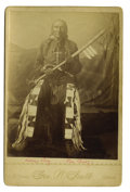 Military & Patriotic:Indian Wars, Cabinet Card Photograph of Sioux Indian Chief with Pistol, Fort Yates, Dakota, ca. 1880s-1890s....