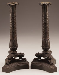 A PAIR OF FRENCH CHARLES X BRONZE CANDLESTICKS Second Quarter 19th Century 15 inches (38.1 cm) high, each