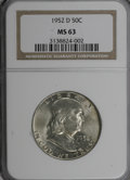 Franklin Half Dollars: , 1952-D 50C MS63 NGC. NGC Census: (77/584). PCGS Population(127/554). Mintage: 25,395,600. Numismedia Wsl. Price for NGC/PC...