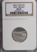 Statehood Quarters, 2005-P 25C West Virginia Satin MS69 NGC. NGC Census: (0/0). PCGSPopulation (0/0). Numismedia Wsl. Price for NGC/PCGS coin...
