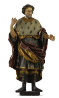 Decorative Arts, Continental:Other , PROPERTY FROM THE CROW ART PARTNERSHIP COLLECTION. A GERMANPOLYCHROME AND GILT WOOD FIGURE OF A MAN. South Germany, 19th ...